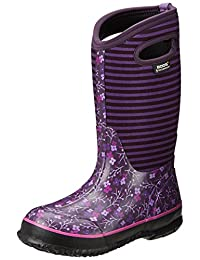 Bogs Kids Classic Flower Stripe Waterproof Winter & Rain Boot (Toddler/Little Kid/Big Kid)