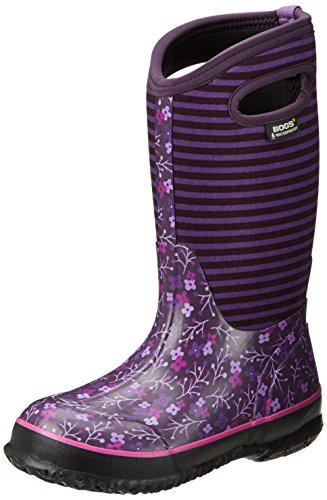 Bogs Kid's Classic High Waterproof Insulated Rubber Neoprene Rain Boot, Flower Stripe/Purple/Multi, 8 M US Toddler