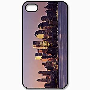 Protective Case Back Cover For iPhone 4 4S Case USA New York Manhattan District Building Skyscrapers Black
