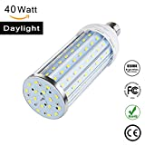 40W Daylight LED Corn Light Bulb for Indoor Outdoor Large Area Auzilar - E26/E27 Socket 4000Lm 6500K,for Home Street Lamp Post Lighting Garage Factory Warehouse High Bay Barn Porch Backyard Garden
