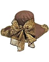 Luxury Divas Cotton Floppy Hat With Leopard Scarf