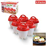 Egg Cooker As Seen on TV, Non Stick Silicone Egg Boiler, Hard Boiled Eggs without the Shell (Red+White)