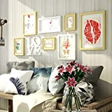 ZGP Home@Wall photo frame Solid Wood Photo Wall Hanging Wall Photo Frame Creative Combination Romantic Love Living Room Bedroom Bedside Decoration Painting Photos (Color : A)