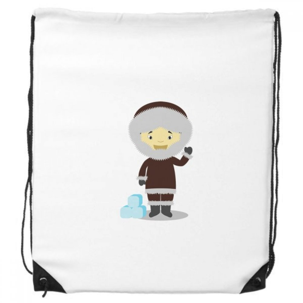 Cold Jacket Greenland Cartoon Drawstring Backpack Shopping Gift Sports Bags