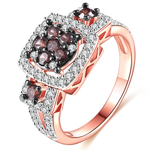 Black Diamond Ring Gold Jewelry - Women Rings Coffee Cubic Zirconia Rhodium Rose Gold Black Plated Ring Party Wedding Jewelry Size 8