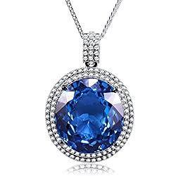 White Gold With Blue Topaz Pendant & Necklace