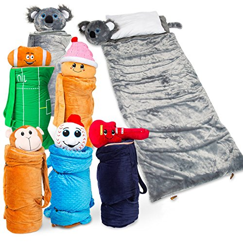 SUPER FUN & UNIQUE Sleeping Bag/Overnight & Travel Kit For Kids| BuddyBagz's All in 1 Traveling-Made-Easy Solution Complete W/ Stuffed Animal, Pillow, Sleeping Bag, Toiletry & Overnight Bag