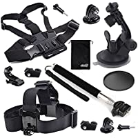 EEEKit 4in1 Starter Kit for For Gopro/Gopro Style/1/4 inch Screw Action Cameres, Head Strap/Chest Body Harness/ Car Dashboard Mount, Selfie Stick Pole