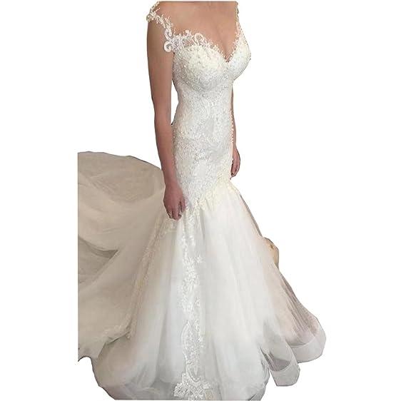 DingDingMail Romantic Mermaid Lace Wedding Dresses 2018 Pearls ...