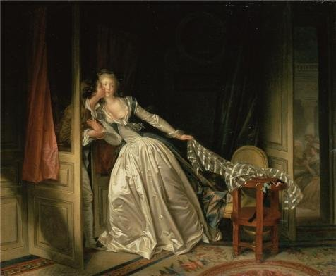 Polyster Canvas ,the Reproductions Art Decorative Prints On Canvas Of Oil Painting 'The Stolen Kiss,1780 By Jean-Honore Fragonard', 30x36 Inch / 76x93 Cm Is Best For Bar Gallery Art And Home Artwork And Gifts (The Stolen Kiss By Jean Honore Fragonard)