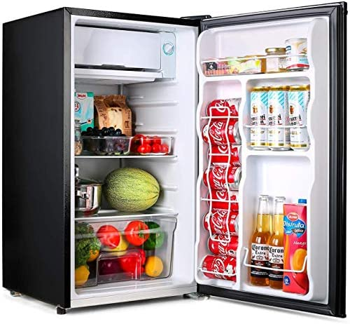 TACKLIFE Compact Refrigerator, 3.2 Cu Ft Mini Fridge with Freezer, Energy Star Rating, Low noise, for Bedroom Office or Dorm with Adjustable Temperature, Removable Glass Shelves- MPBFR321
