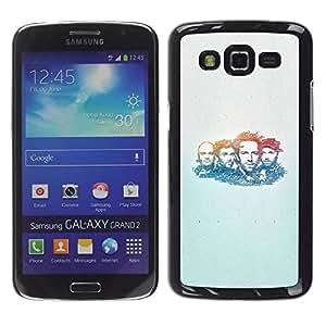 TopCaseStore / la caja del caucho duro de la cubierta de protección de la piel - Band Music Portrait Man Faces People Drawing - Samsung Galaxy Grand 2 SM-G7102 SM-G7105