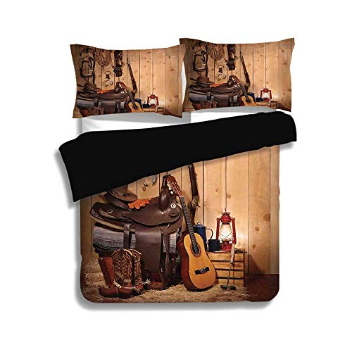 Black Folk Guitar Set - SINOVAL Black Duvet Cover Set Twin Size,Western Decor,American Texas Style Country Music Guitar Cowboy Boots USA Folk Culture,Cream and Brown,3 Pcs Fashion Bedding Set