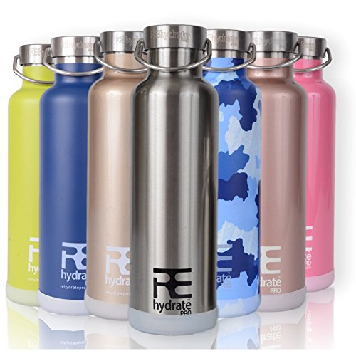 Rehydrate Pro (Chrome 25oz) Double-Insulated Stainless Steel Water Vacuum Bottle Flask -Compatible to Swell Yeti Hydro and Klean Kanteen for Hot or Cold Drinks + Bonus 'Flip N Sip' Sports Cap