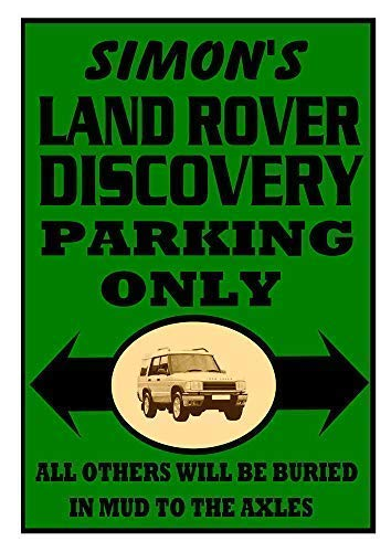 Unoopler Personalised Land Rover Discovery Parking Only Metal Sign 8x12 Plaque Landrover Gift ()