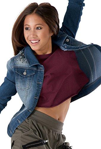 Balera Urban Groove Denim Jacket Button Closure With Studded Shoulder Accents Denim Child Large