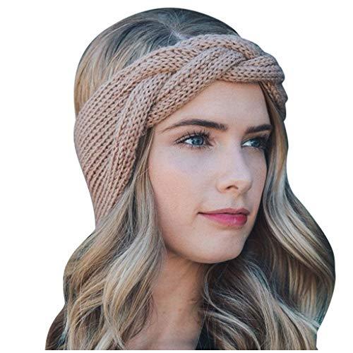 Fine Casual Sweater Headband,Fashionable Women's Knitting Twist Braid Super Wide Elastic Pure Color Hair Band (Brown)