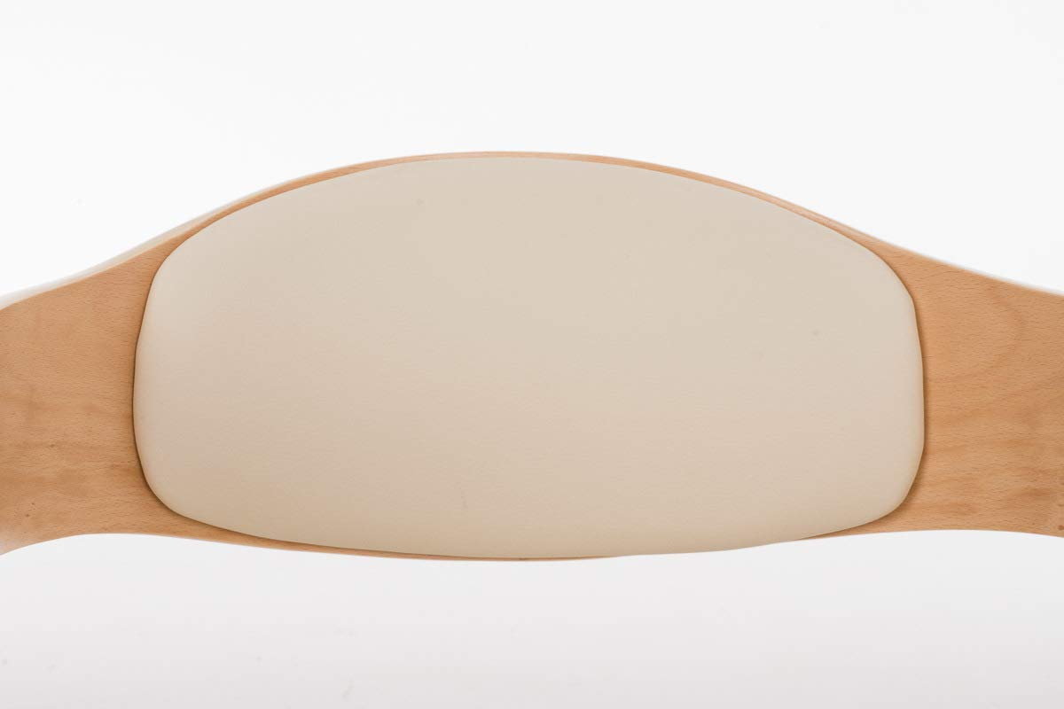 Chaise de Salle /à Manger avec Accoudoirs Design Scandinave Couleur CLP Chaise Retro Kingston Similicuir Nature//cr/ème Si/ège et Dossier Rembourr/és