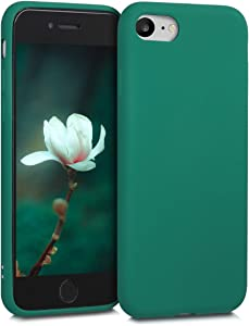 kwmobile TPU Silicone Case Compatible with Apple iPhone 7/8 / SE (2020) - Soft Flexible Protective Phone Cover - Dark Metallic Green