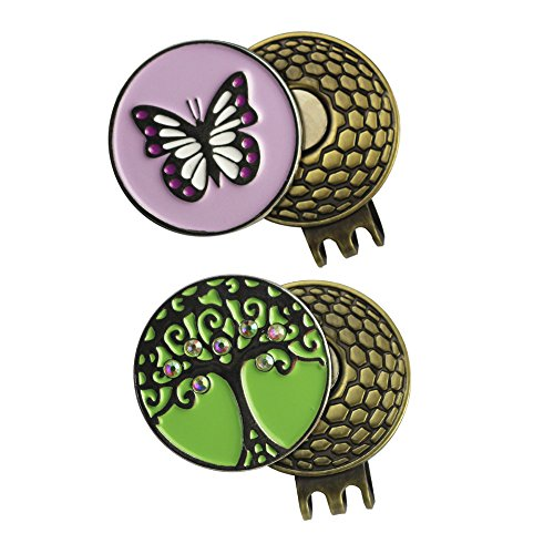 PINMEI 2 Sets of Golf Ball Marker with Magnetic Golf Hat Clip (Butterfly and Big Tree) ()