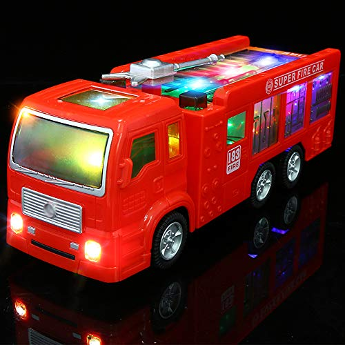 Electric Fire Truck Toy Kids - 3D Flashing Lights Siren Sounds Bump Goes Around Changes Directions, Engine Truck Toys Toddlers & Children Ages 3+ Years