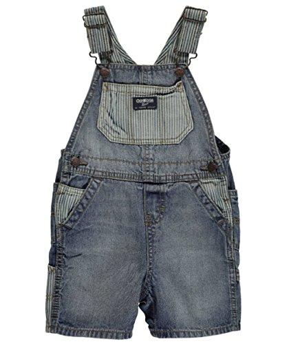 OshKosh B'gosh Hickory Blocked Shortalls, Genuine Indigo, 18 Months - Genuine Boys Shorts
