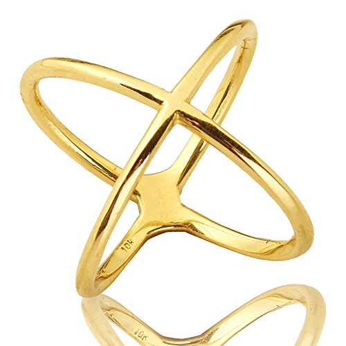 Mr. Bling 10K Yellow Gold Modern Atomic Style X Geometric Design Ring, Available in Sizes 5-9 (8.5)