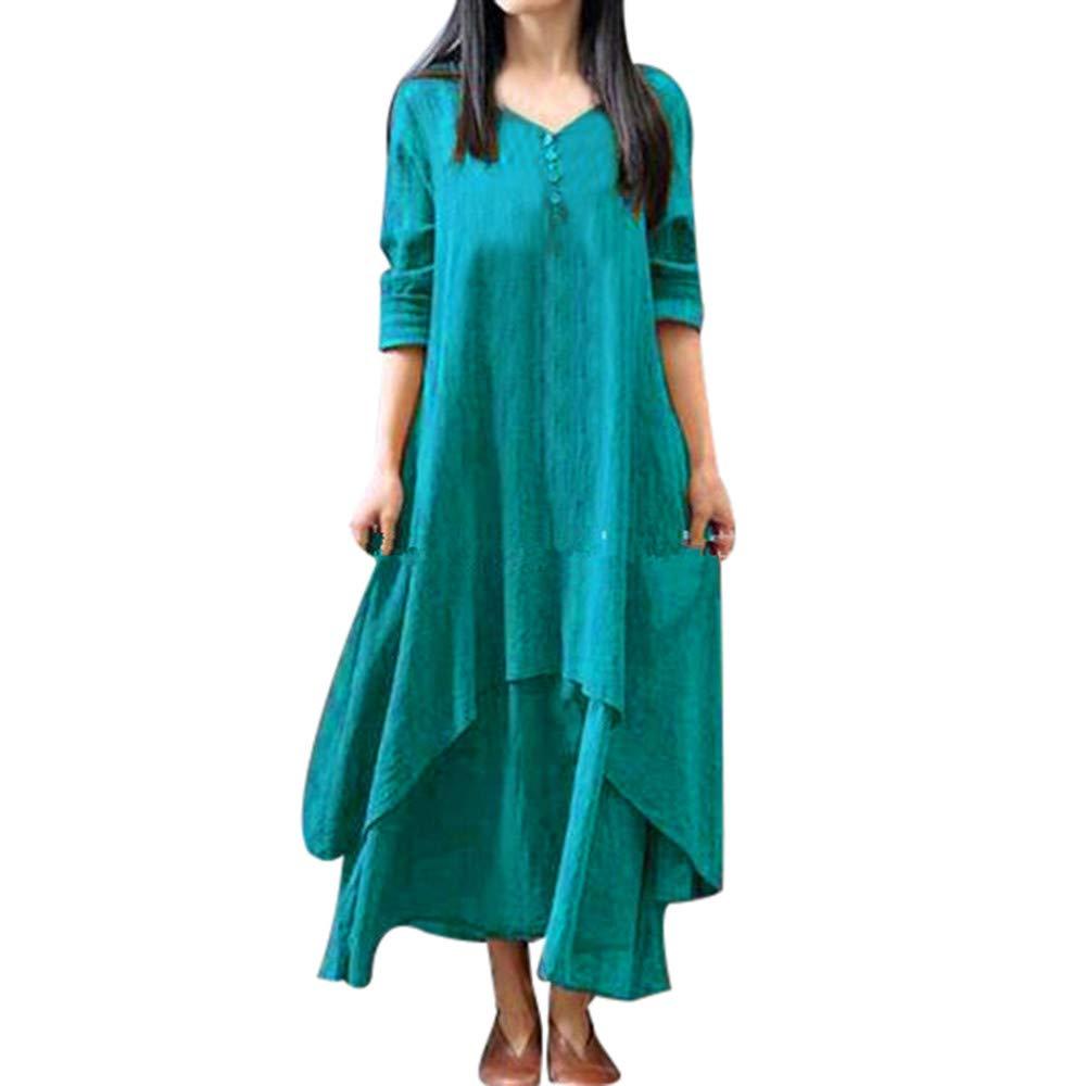 23f07beb3959 Damen Kleider, Dasonff Beil ä ufige Fest Langarm Boho Lang Maxi Kleid,  Baumwolle und Leinen Freizeitkleid ...