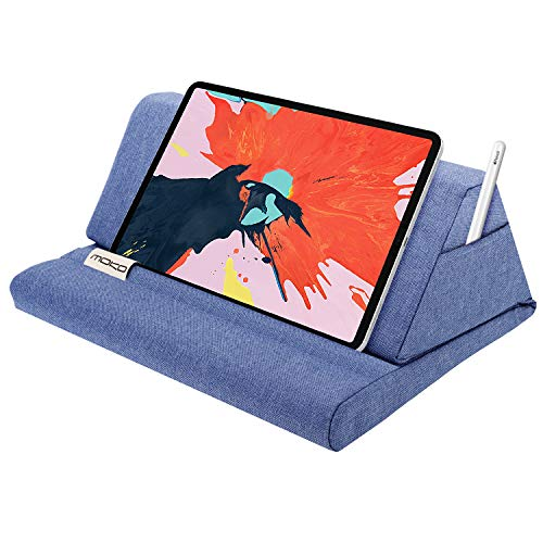 "MoKo Tablet Pillow Stand, Soft Bed Pillow Holder Fits up to 11"" Pad Fit with New iPad Air 3rd Gen iPad Mini 5th Gen, iPad Pro 11 2018/10.5/9.7, Air Mini 1 2 3 4, Samsung Galaxy Tab, Denim Blue"