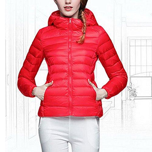 Capuche Femme Court Blouson Slim Veste Hiver Lgre Parka Manteau Duvet Wenyujh Rouge Jacket Fashion Chaud en Doudoune avec YOx4dA