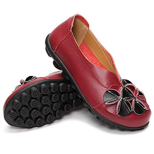 Socofy Outdoor Scarpe Casual Piatte, Donna Slip On In Pelle Decorazione Floreale Handmade Casual Mocassini Morbidi Vino Rosso