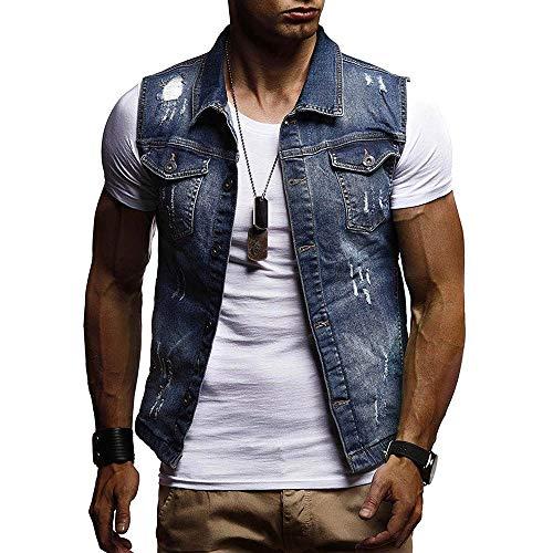 POHOK Clearance Deals ! Men's Autumn Winter Destroyed Vintage Denim Jacket Waistcoat Blouse Vest Top (Vest Vintage Denim)
