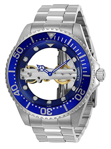 Invicta Men's Pro Diver Mechanical-Hand-Wind Watch with Stainless-Steel Strap, Silver, 22 (Model: 24693)