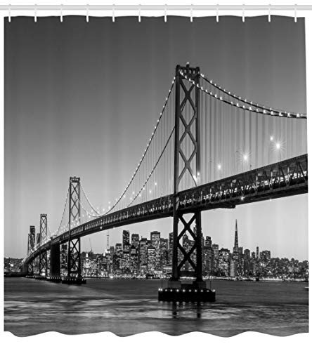 Lunarable City Shower Curtain, Sun Setting View of San Francisco Bay Bridge California USA Tourist Attraction Image, Cloth Fabric Bathroom Decor Set with Hooks, 84 Inches Extra Long, Black Grey