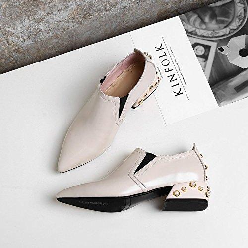 37 con femmina piede nel perla mettere Primavera per selvatici comode punta scarpe bianco singolo bold scarpe xXZxEwqgH