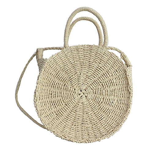 Retro Bohemian Straw Round Beach Handbag Women Handmade Summer Bag Crossbody White For Woven Shoulder Cheerfulus 50vxqwERR