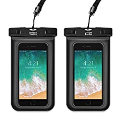 "YOSH Waterproof Phone Case, Universal Waterproof Phone Pouch Bag Cell Phone Dry Bag Pouch Waterproof Case Compatible with iPhone Xs X 8 7 6 8+ 7+ 6+ Galaxy S9 S8 S7 Edge Pixel 2 up to 6.0"" (2-Pack)"