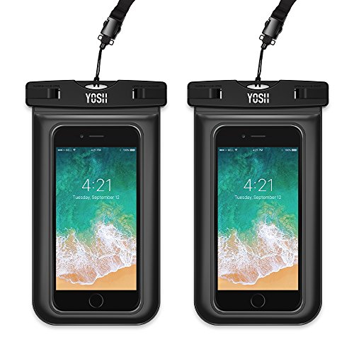 YOSH Waterproof Phone Pouch, Universal Waterproof Phone Case Cell Phone Dry Bag Pouch Underwater Waterproof Case Compatible with iPhone XR Xs X 8 7 6 6s Plus Galaxy S9 S8 Pixel 3 2 up to 6.1 (2-Pack)