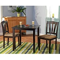 Metropolitan 3 Piece Dining Set, Includes 2-chairs and 1-Table, It Is Made of Quality Wood Materials, This Petite Dinette Takes up Little Space (Espresso)
