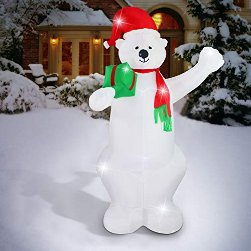 fashionlite 8 feet christmas xmas inflatable bear lighted blow up yard party decoration