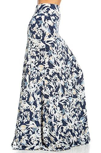 Junky Closet Women's Foldover High Waisted Floor Length Maxi Skirt (1X-Large, S222LJ Navy Taupe Floral)