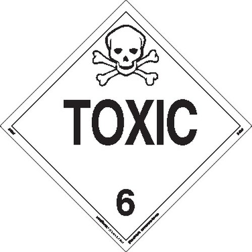 Labelmaster Z-EZ27 Toxic Hazmat Placard, Worded, E-Z Removable Vinyl (Pack of 25) by Labelmaster®