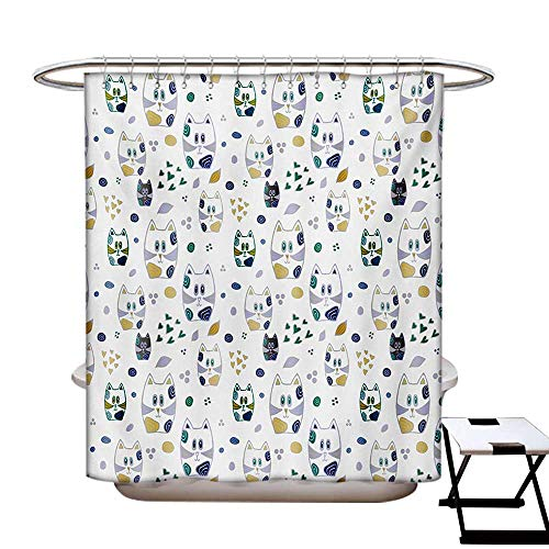 BlountDecor Kids Shower Curtains Digital Printing Cute Childish Cat Figures Kitten with Hearts and Spiral Circles Nursery Themed Art Satin Fabric Bathroom Washable W72 x L72 Multicolor