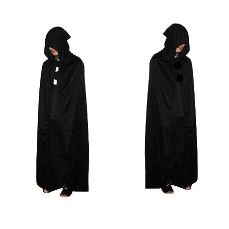 Tinksky Halloween Cloak Grim Reaper Death Devil Cappotto con cappuccio  Mantello Nero Costume Cosplay Costumi di 9b511075ae3