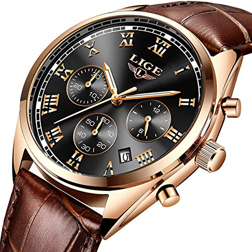 Mens Watches LIGE Mens Luxury Waterproof Date Analog Quartz Watch Gents Fashion Casual Dress Sport Wrist Watch Male Leather Wristwatch, Rose Gold Black