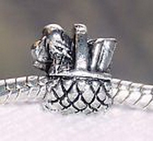 Glamorise Beads #13658 Picnic Basket Food Lunch Kitchen Dangle Bead for Silver European Charm Bracelets