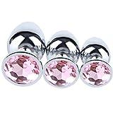 JingDZ 3pcs Different Size Anal Butt Plug Set Stainless Steel Diamond Jeweled Plug Kits Adult Massage for Women Men Couples (Design Pink)