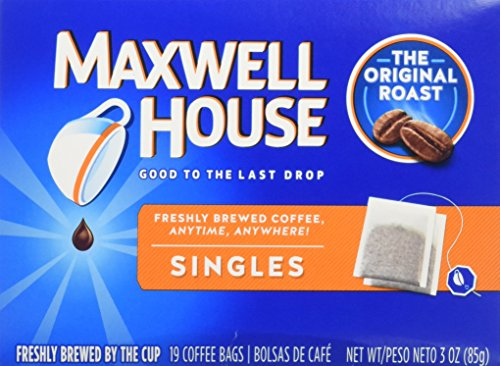 Maxwell House Original Roast Ground Coffee, 19 Single Serve Coffee Bags, 4 Pack