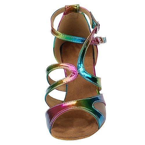 de Indoor T Zapatillas de Tacones Piel Jazz Practice para iris Danza T del Mujer Q Heel Arco Tango Swing Sandalias Iris Performance Dancing Latinas sintética Arco Salsa dgtExq