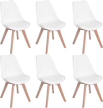 EGGREE Pack de 6 Tulip Comedor/Silla de Oficina con Las piernas de Madera de Haya Maciza, (TM) sillas sin Brazos Acolchada para Mayor comodida - Blanco: Amazon.es: Hogar